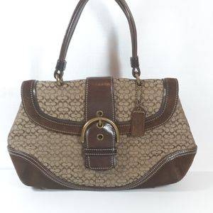 Vintage Coach Canvas and Suede Handbag
